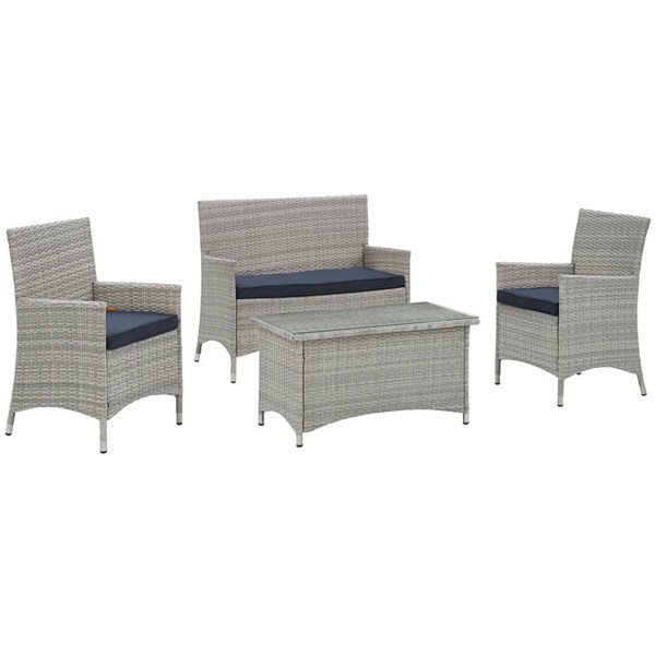Modway Furniture Bridge Light Gray Navy 4pc Outdoor Patio Set EEI-2212-LGR-NAV