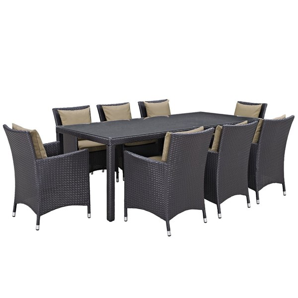 Convene Espresso Mocha Fabric Rattan 9pc Outdoor Patio Dining Set EEI-2217-EXP-MOC-SET
