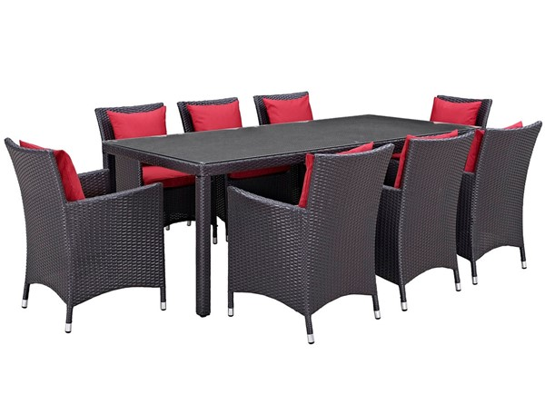 Modway Furniture Convene Espresso Red 9pc Outdoor Patio Dining Set EEI-2217-EXP-RED-SET
