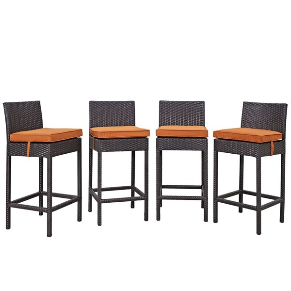4 Convene Espresso Orange Synthetic Rattan Outdoor Patio Bar Stools EEI-2218-EXP-ORA-SET