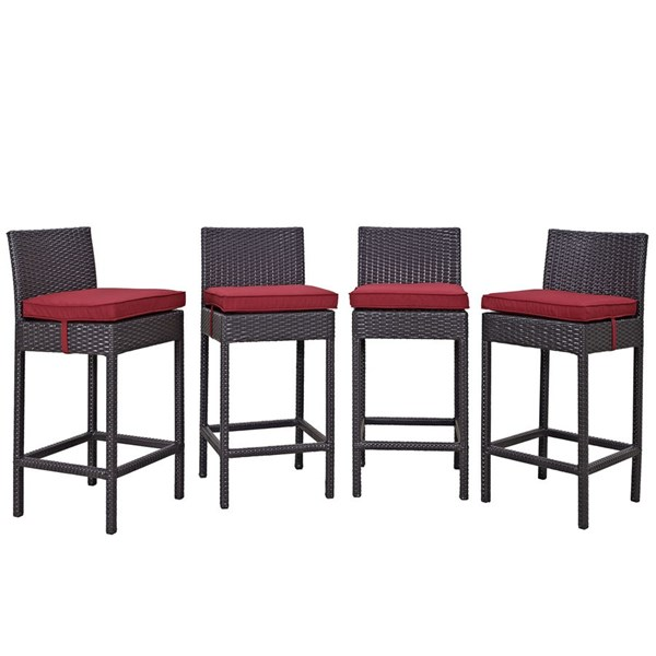 4 Convene Espresso Red Synthetic Rattan Outdoor Patio Bar Stools EEI-2218-EXP-RED-SET