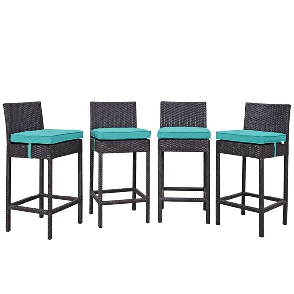 4 Convene Espresso Turquoise Synthetic Rattan Outdoor Patio Bar Stools EEI-2218-EXP-TRQ-SET