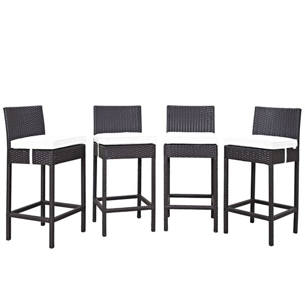 4 Convene Espresso White Synthetic Rattan Outdoor Patio Bar Stools EEI-2218-EXP-WHI-SET