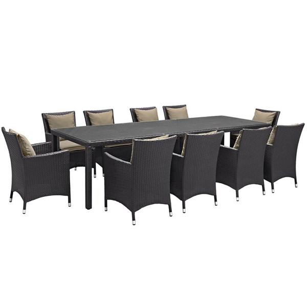 Convene Espresso Mocha Fabric Rattan 11pc Outdoor Patio Dining Set EEI-2219-EXP-MOC-SET