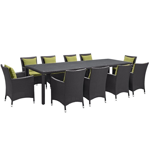Modway Furniture Convene Espresso Peridot 11pc Outdoor Patio Dining Set EEI-2219-EXP-PER-SET