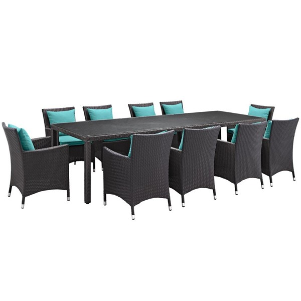 Modway Furniture Convene Espresso Turquoise 11pc Outdoor Patio Dining Set EEI-2219-EXP-TRQ-SET