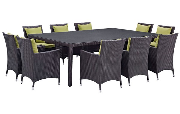 Modway Furniture Convene Peridot 11pc Outdoor Patio Dining Set EEI-2240-EXP-PER-SET