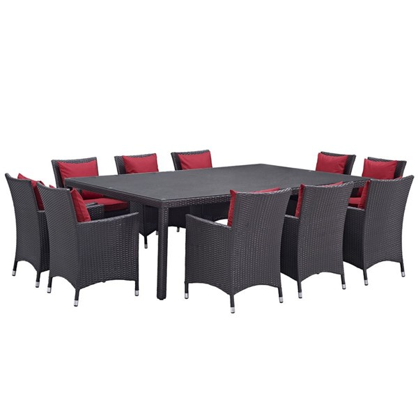 Convene Red Fabric Rattan 11pc Outdoor Patio Dining Set EEI-2240-EXP-RED-SET