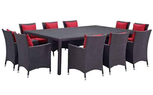 Modway Furniture Convene Red 11pc Outdoor Patio Dining Set EEI-2240-EXP-RED-SET
