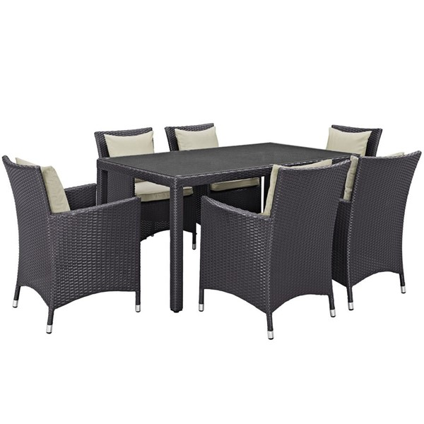 Convene Espresso Beige Rattan Glass 7pc Outdoor Patio Dining Set EEI-2241-EXP-BEI-SET