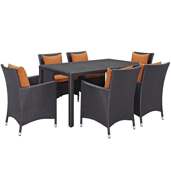 Convene Espresso Orange Rattan Glass 7pc Outdoor Patio Dining Set EEI-2241-EXP-ORA-SET