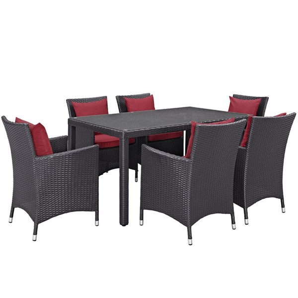 Convene Espresso Red Rattan Glass 7pc Outdoor Patio Dining Set EEI-2241-EXP-RED-SET