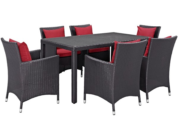 Modway Furniture Convene Espresso Red 7pc Outdoor Patio Dining Set EEI-2241-EXP-RED-SET