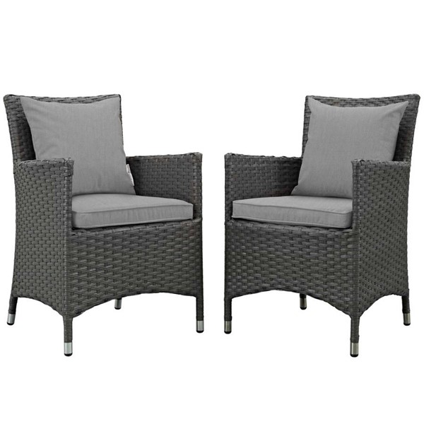 2 Modway Furniture Sojourn Gray Outdoor Sunbrella Dining Chairs EEI-2242-CHC-GRY-SET