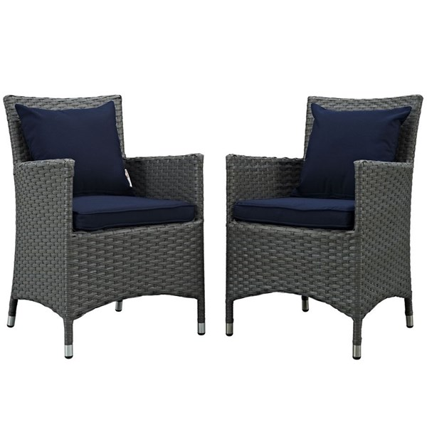 2 Modway Furniture Sojourn Navy Outdoor Sunbrella Dining Chairs EEI-2242-CHC-NAV-SET