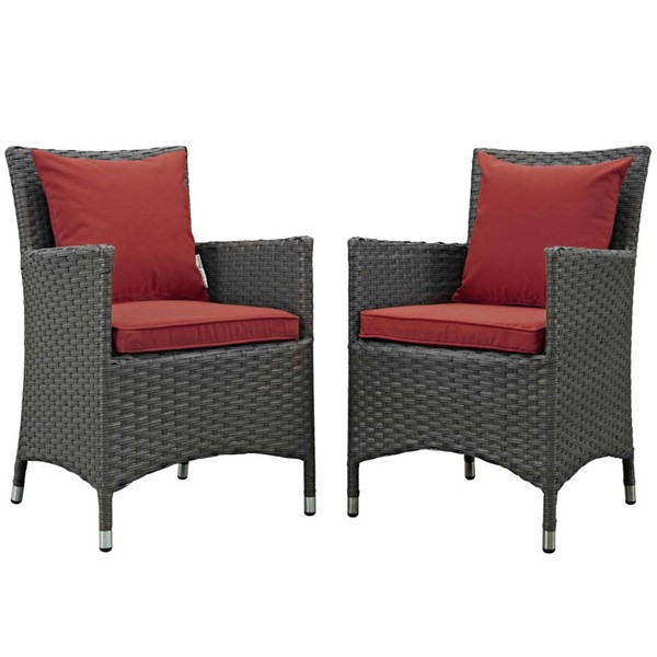 2 Modway Furniture Sojourn Red Outdoor Sunbrella Dining Chairs EEI-2242-CHC-RED-SET