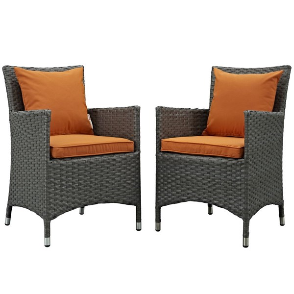 2 Modway Furniture Sojourn Tuscan Outdoor Sunbrella Dining Chairs EEI-2242-CHC-TUS-SET
