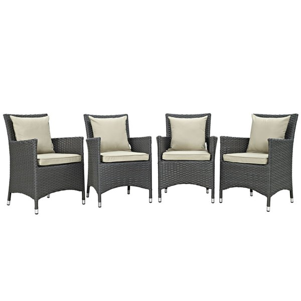 4 Sojourn Beige Fabric Rattan Aluminum Outdoor Patio Dining Chairs EEI-2243-CHC-BEI-SET