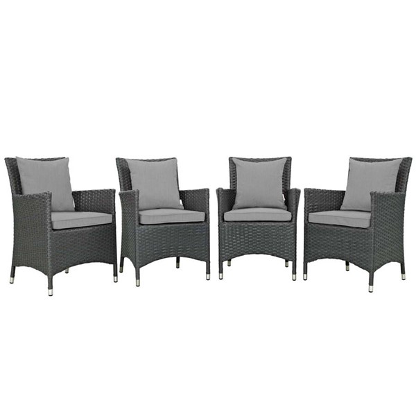 4 Modway Furniture Sojourn Gray Outdoor Sunbrella Dining Chairs EEI-2243-CHC-GRY-SET