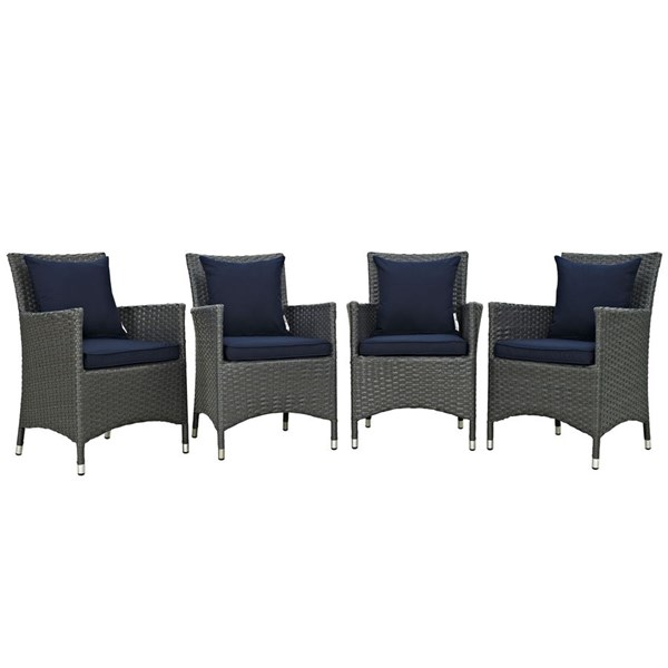 4 Modway Furniture Sojourn Navy Outdoor Sunbrella Dining Chairs EEI-2243-CHC-NAV-SET
