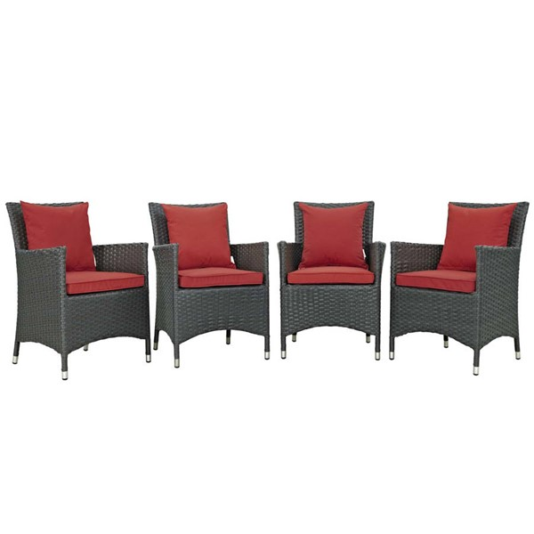 4 Modway Furniture Sojourn Red Outdoor Sunbrella Dining Chairs EEI-2243-CHC-RED-SET