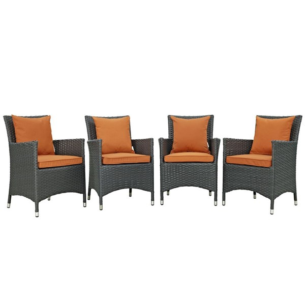 4 Sojourn Tuscan Fabric Rattan Aluminum Outdoor Patio Dining Chairs EEI-2243-CHC-TUS-SET