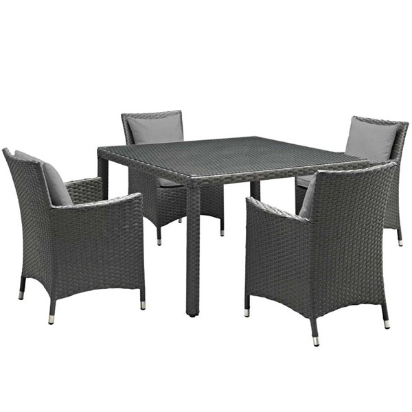 Modway Furniture Sojourn Gray 5pc Outdoor Sunbrella Dining Set EEI-2244-CHC-GRY-SET