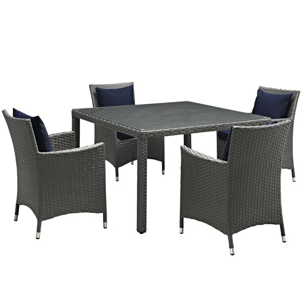 Modway Furniture Sojourn Navy 5pc Outdoor Sunbrella Dining Set EEI-2244-CHC-NAV-SET