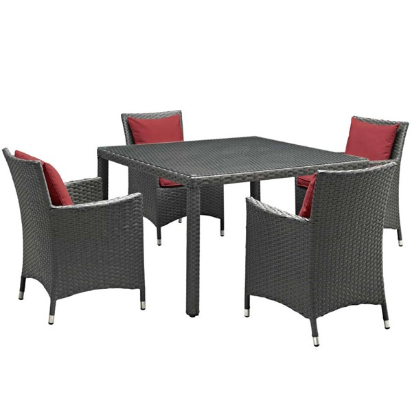 Modway Furniture Sojourn Red 5pc Outdoor Sunbrella Dining Set EEI-2244-CHC-RED-SET