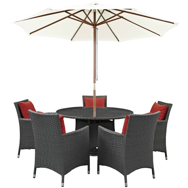 Modway Furniture Sojourn Red Round 7pc Outdoor Sunbrella Dining Set EEI-2246-CHC-RED-SET