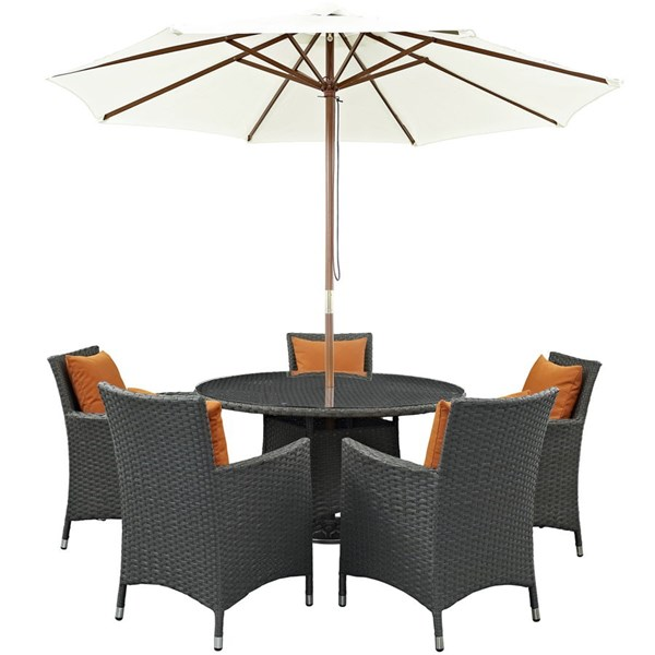Modway Furniture Sojourn Tuscan Round 7pc Outdoor Sunbrella Dining Set EEI-2246-CHC-TUS-SET