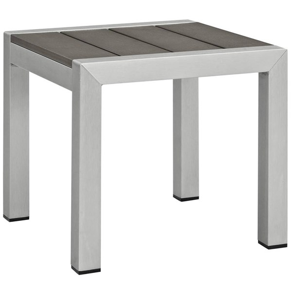 Modway Furniture Shore Outdoor Side Table EEI-2248-SLV-GRY