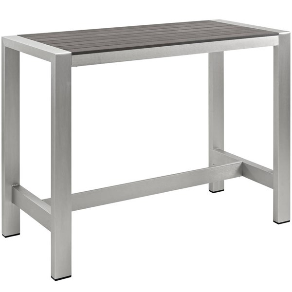 Modway Furniture Shore Outdoor Bar Table EEI-2253-SLV-GRY