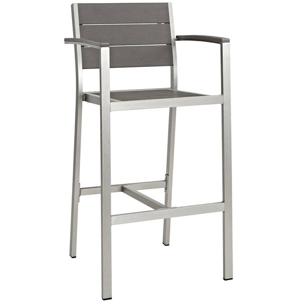 Modway Furniture Shore Outdoor Bar Stool EEI-2254-SLV-GRY