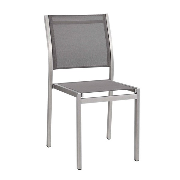 Modway Furniture Shore Silver Gray Outdoor Patio Aluminum Side Chair EEI-2259-SLV-GRY
