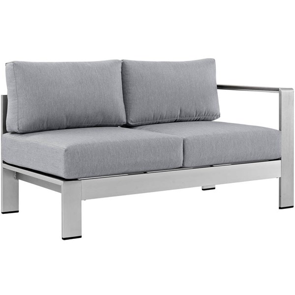 Modway Furniture Shore Silver Gray Outdoor Loveseat EEI-2262-SLV-GRY