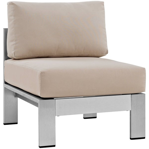 Modway Furniture Shore Silver Beige Outdoor Armless Chair EEI-2263-SLV-BEI