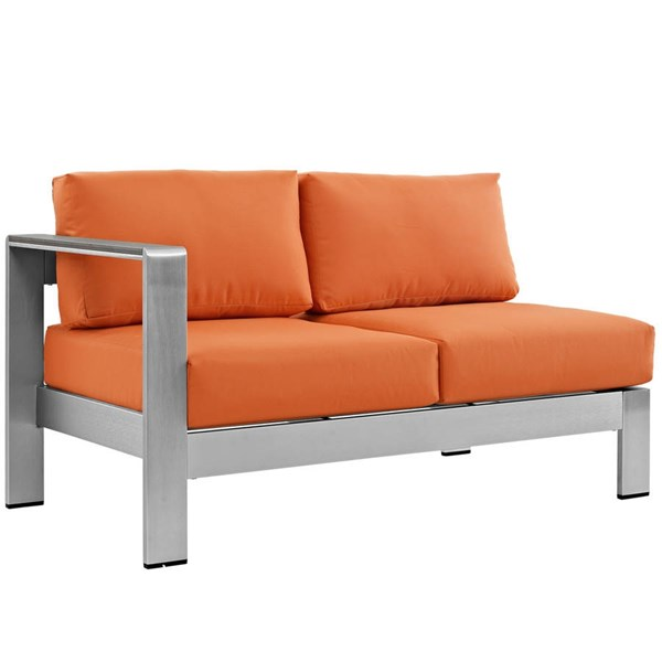 Modway Furniture Shore Silver Orange Outdoor Left Arm Loveseat EEI-2265-SLV-ORA