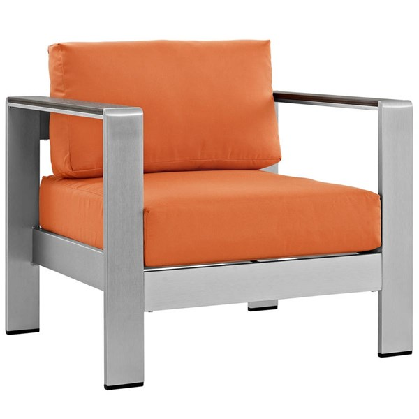 Modway Furniture Shore Silver Orange Outdoor Patio Armchair EEI-2266-SLV-ORA