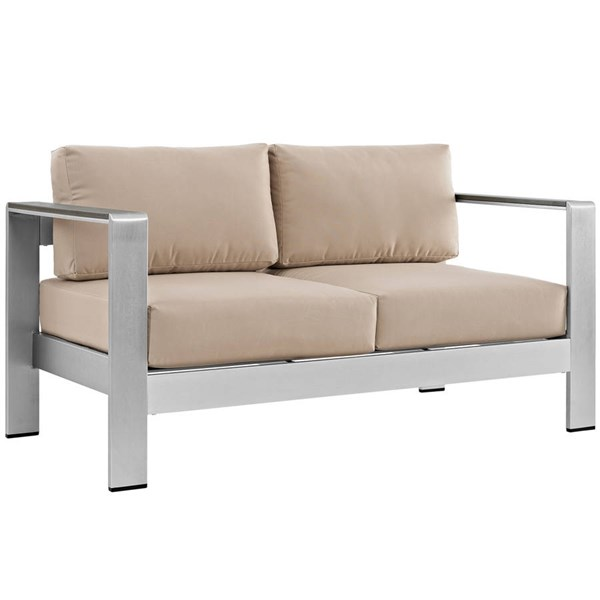 Modway Furniture Shore Silver Beige Outdoor Patio Loveseat EEI-2267-SLV-BEI