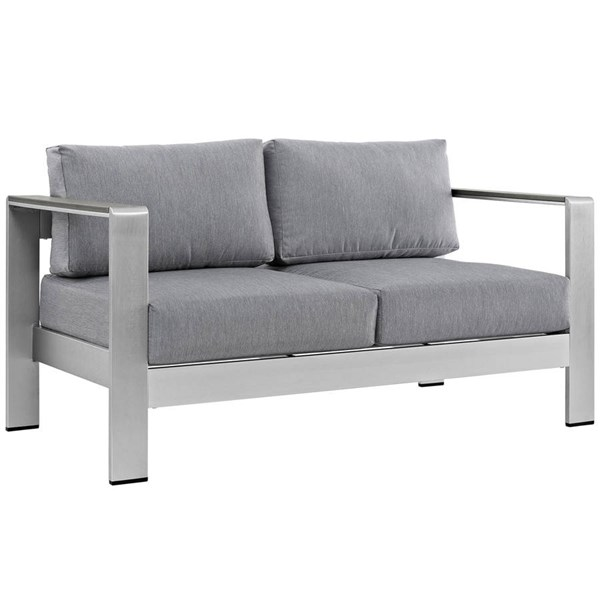 Modway Furniture Shore Silver Gray Outdoor Patio Loveseat EEI-2267-SLV-GRY
