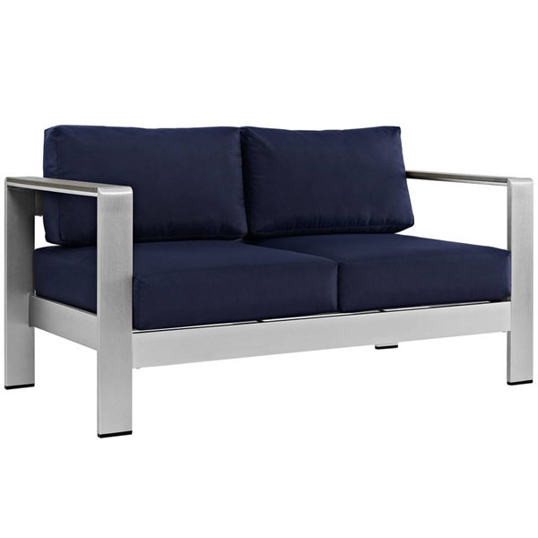 Modway Furniture Shore Silver Navy Outdoor Patio Loveseat EEI-2267-SLV-NAV
