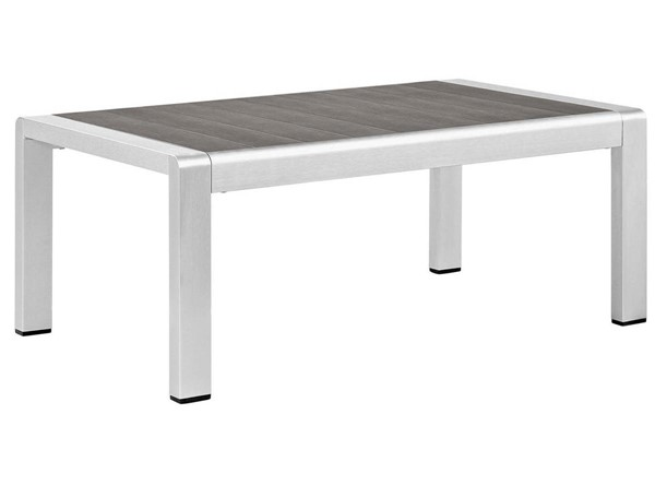 Modway Furniture Shore Outdoor Coffee Table EEI-2268-SLV-GRY