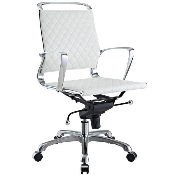 Vibe Modern White Leather Aluminum Mid Back Office Chair EEI-227-WHI