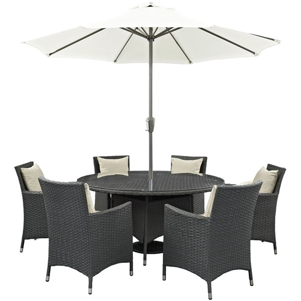 Sojourn Beige Fabric Rattan Glass 8pc Outdoor Patio Dining Sets EEI-2270-OD-DS-VAR