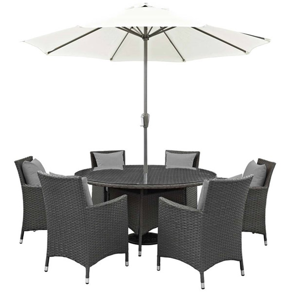 Modway Furniture Sojourn Gray 8pc Outdoor Sunbrella Dining Set EEI-2270-CHC-GRY-SET