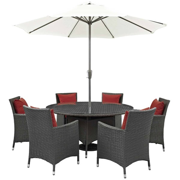 Modway Furniture Sojourn Red 8pc Outdoor Sunbrella Dining Set EEI-2270-CHC-RED-SET
