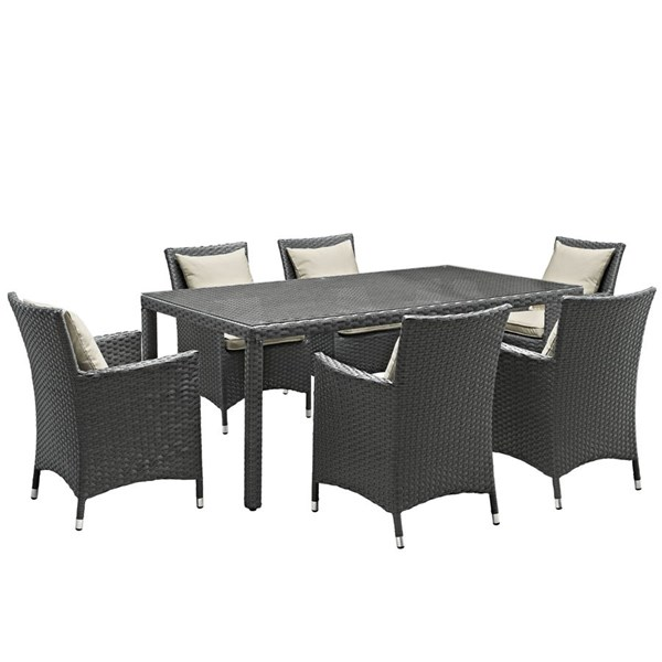 Modway Furniture Sojourn Beige 7pc Outdoor Sunbrella Dining Set EEI-2271-CHC-BEI-SET