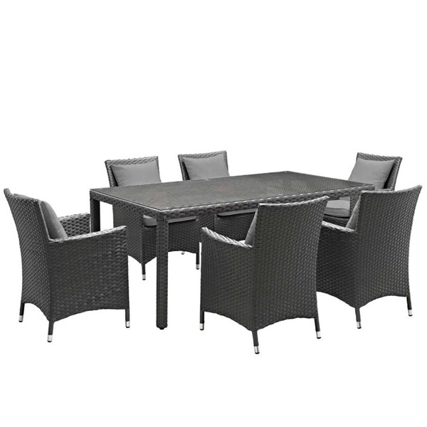 Modway Furniture Sojourn Gray 7pc Outdoor Sunbrella Dining Set EEI-2271-CHC-GRY-SET