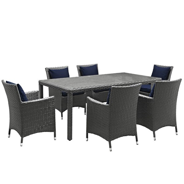 Sojourn Navy Fabric Rattan Glass 7pc Outdoor Patio Dining Set EEI-2271-CHC-NAV-SET
